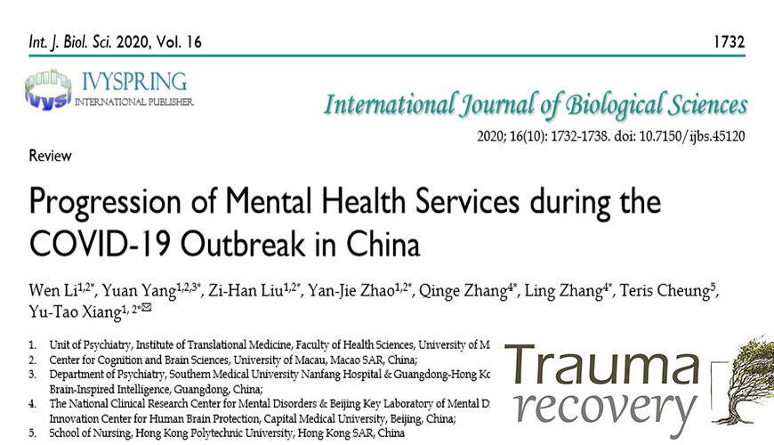 Progressione dei servizi di Salute Mentale durante l'epidemia COVID-19 in Cina